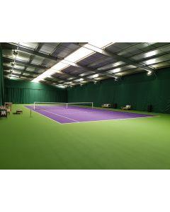 Indoor tennis hall perimeter drapes