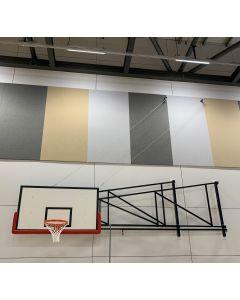 Sideways hinged basketball goal with black powder coated steelwork