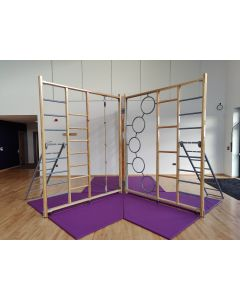 3-gate mat system for timber Foldaway climbing frame - Full Y position