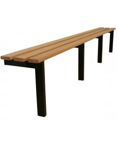Wall to floor changing room bench seating with white beech slats