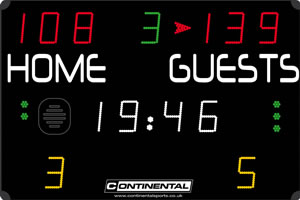 Multi sports electronic scoreboard from Continental Sports Ltd - COMPACT range