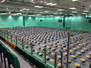 Sports hall floor protection during exams