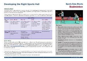 Sport England data sheet - badminton