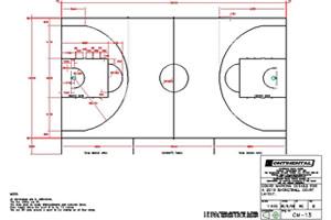 Basketball court line markings
