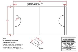 Tchoukball court dimensions