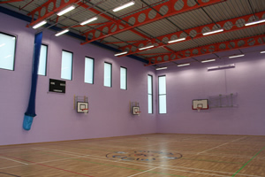 Sports hall walls in lilac