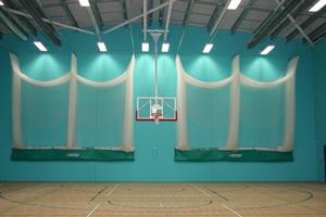 Sports hall walls in mint green