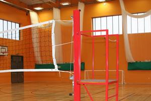 Sports hall walls in orange